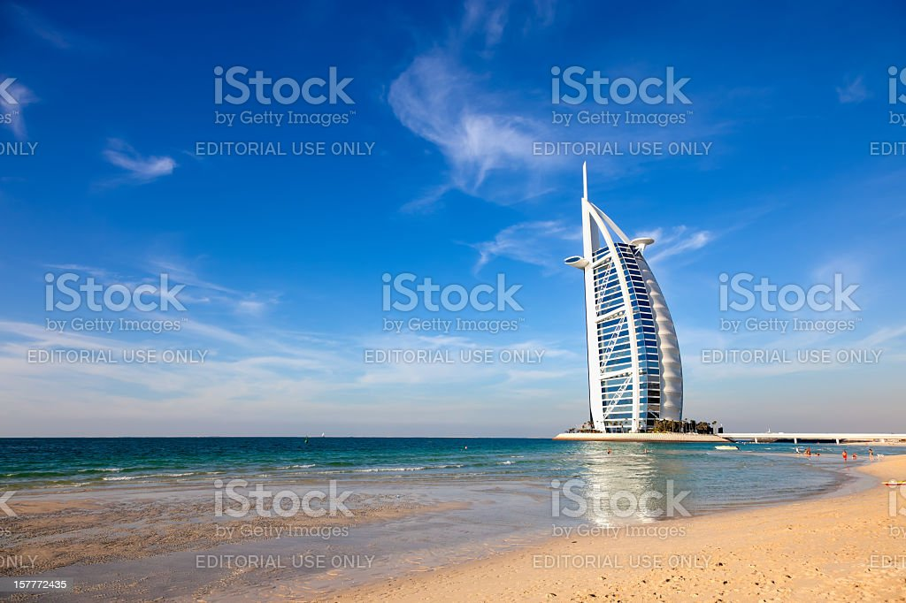 Burj Al Arab hotel from Jumeirah beach, Dubai stock photo