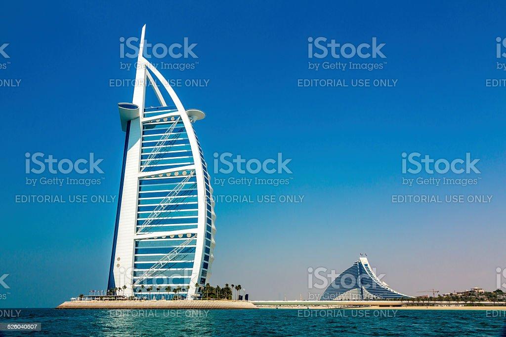 Burj Al Arab Hotel in Dubai from the Sea stock photo