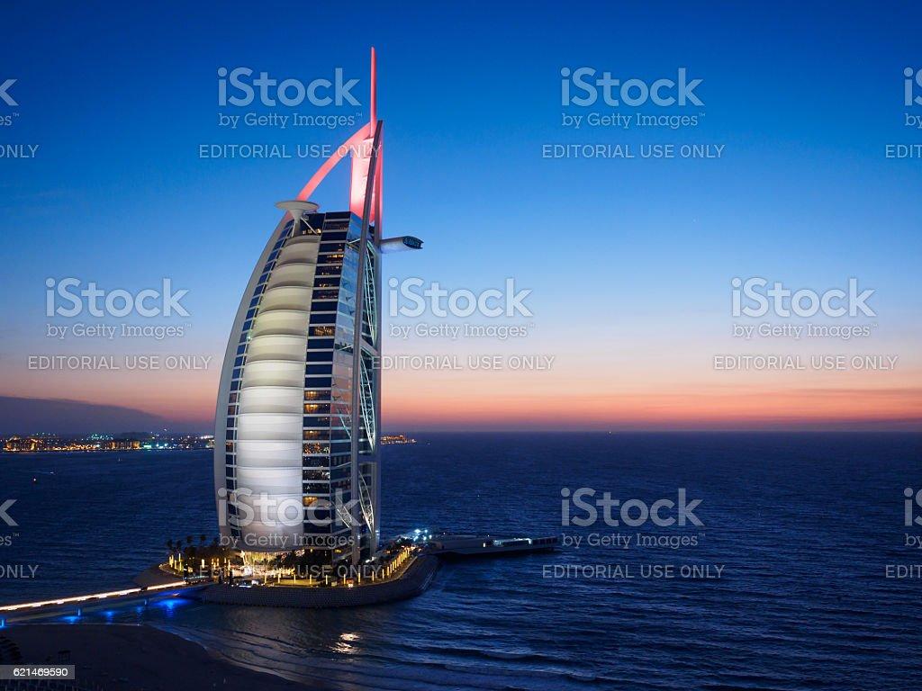 Burj Al Arab Jumeirah at night. stock photo