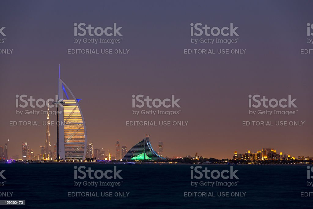 Burj Al Arab with Jumeirah beach hotel royalty-free stock photo