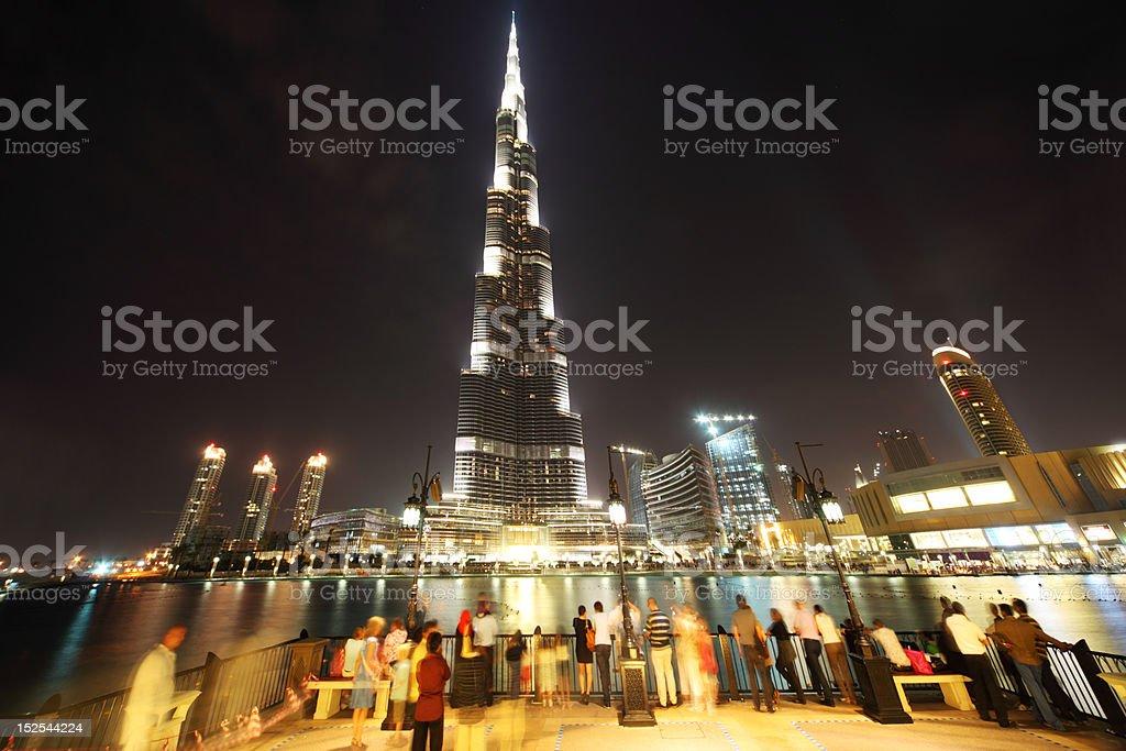 Burj Dubai skyscraper and tourist, United Arab Emirates royalty-free stock photo