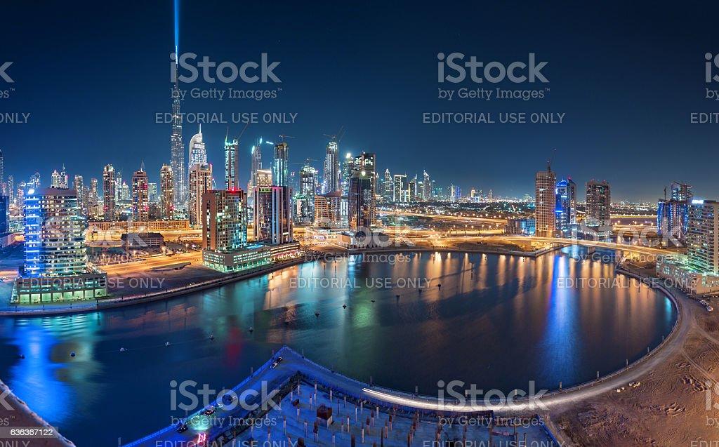 Burj Khalifa and Business Bay Panoramic Vew stock photo