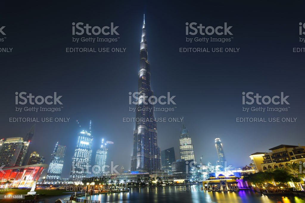 Burj Khalifa and downtown dubai at night stock photo