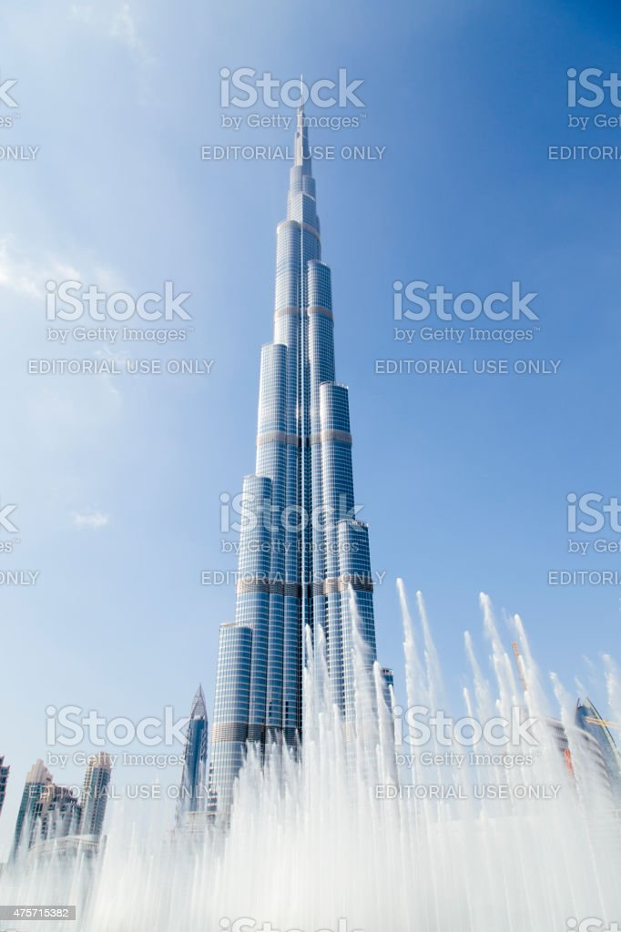 Burj Khalifa and fountains on the Burj Khalifa Lake, Dubai stock photo