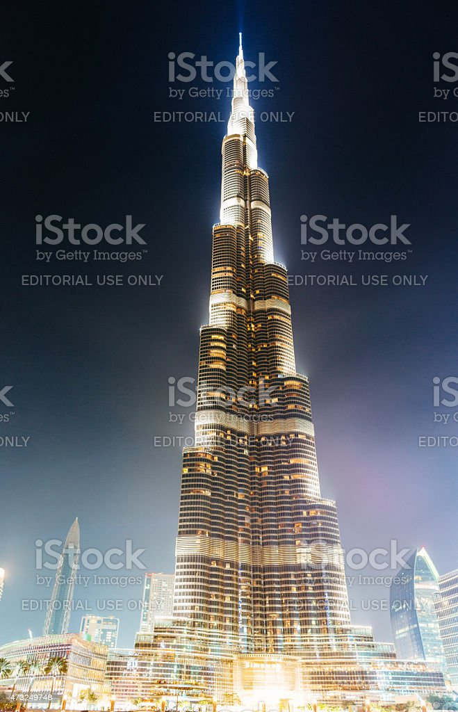 Burj Khalifa at night stock photo
