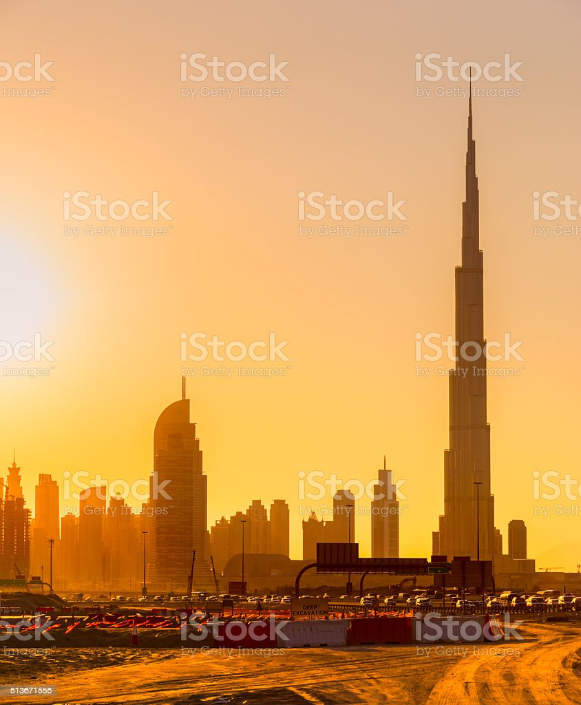 Burj Khalifa at sunset, Dubai. stock photo