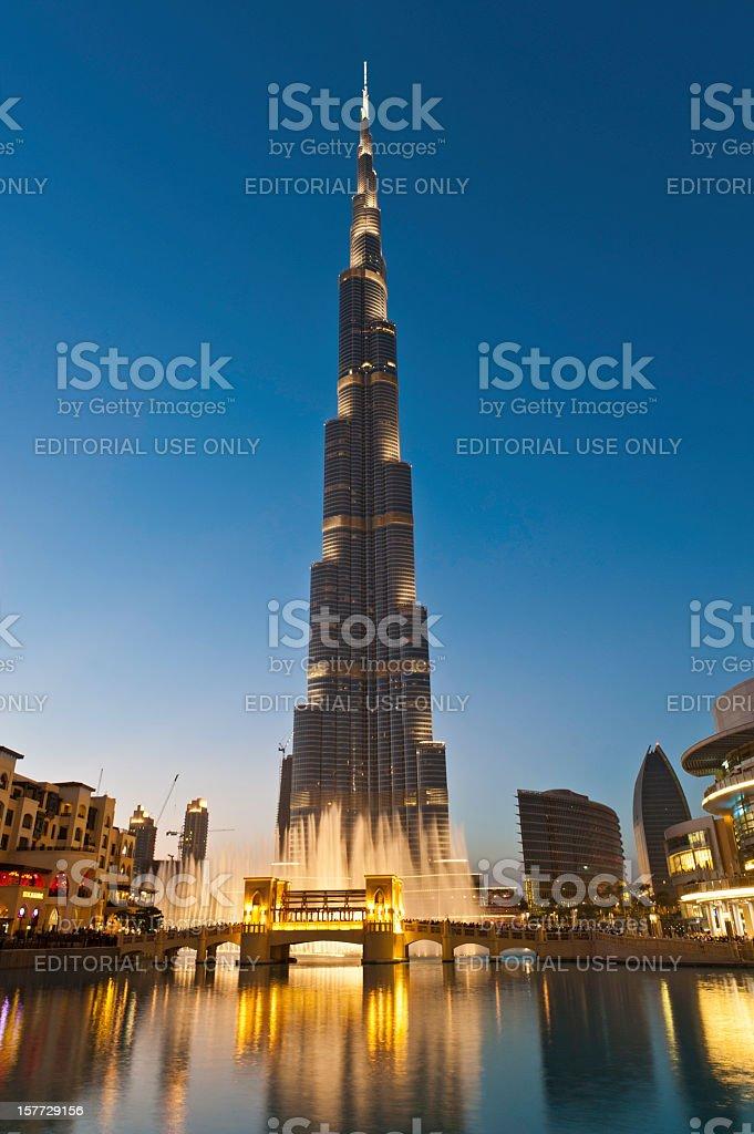 Burj Khalifa Dubai Mall at dusk UAE royalty-free stock photo