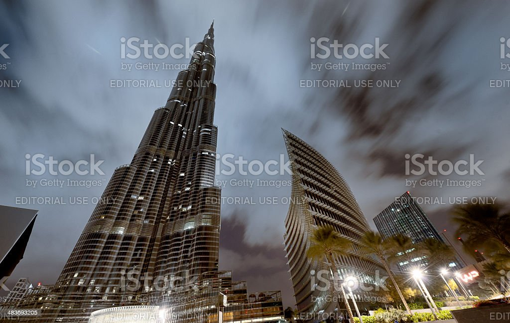 Burj Khalifa in Dubai at night stock photo