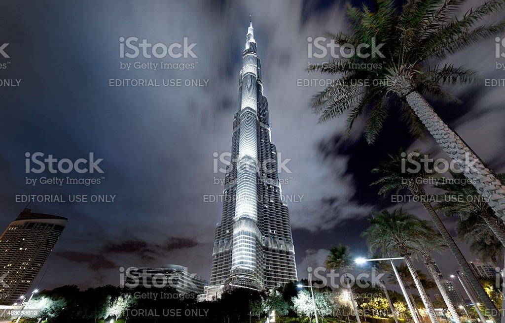 Burj Khalifa in Dubai at night royalty-free stock photo