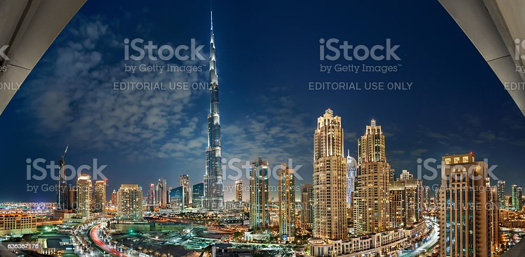 Burj Khalifa Panoramic View at night with Downtown Towers stock photo