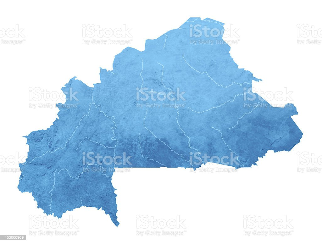 Burkina Faso Topographic Map Isolated royalty-free stock photo