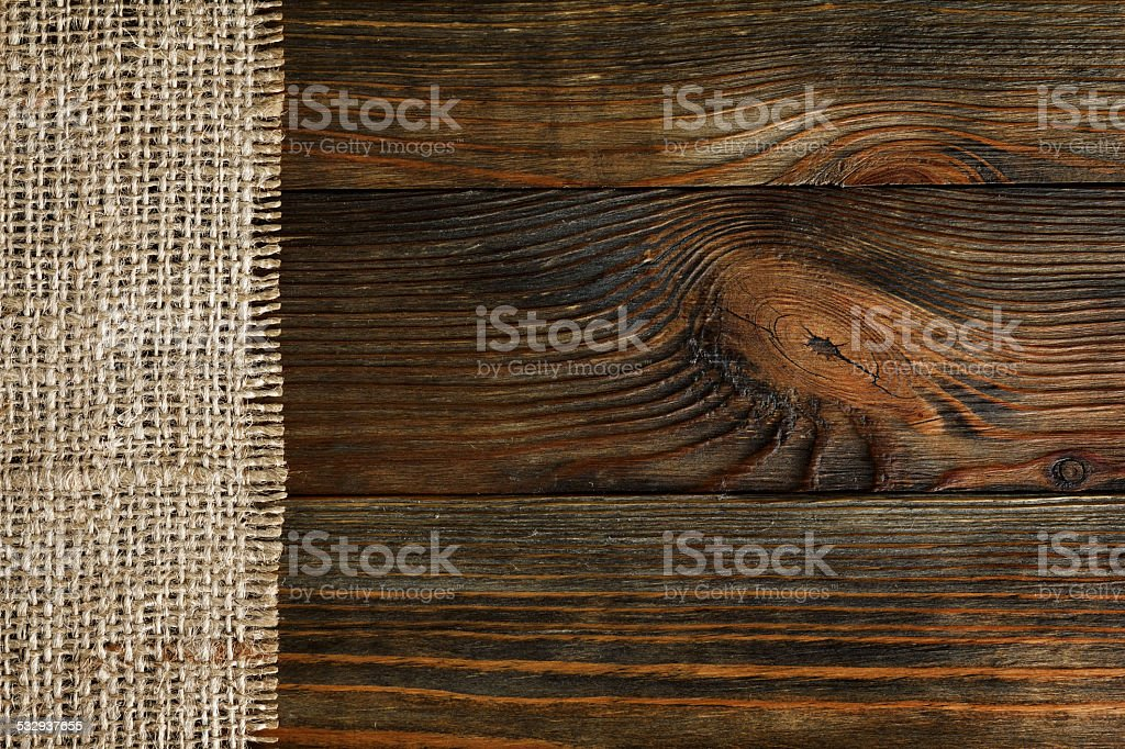 Burlap and wood texture stock photo
