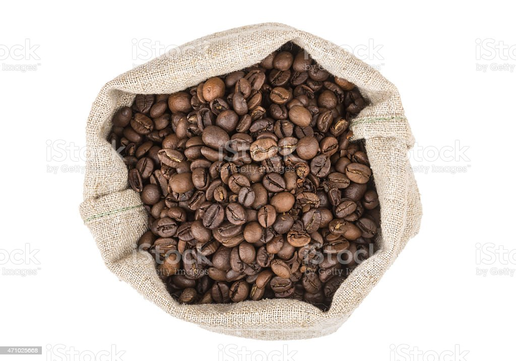 Burlap bag of coffee beans roasted coffee, top view stock photo