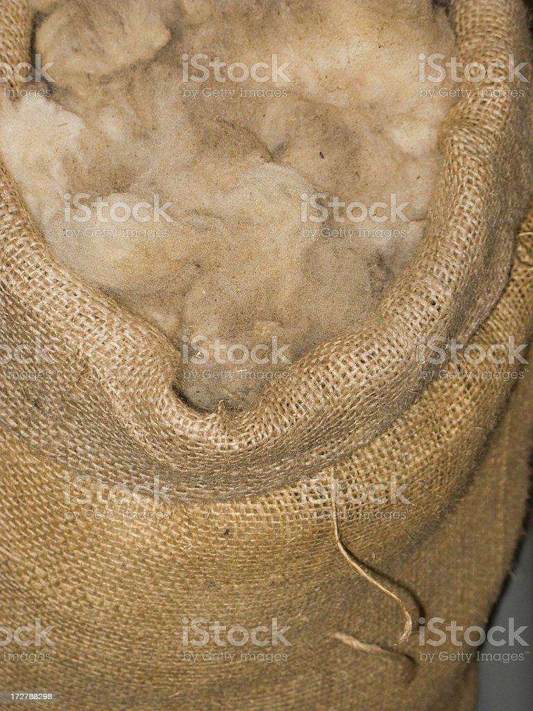 Burlap Bag With Wool, Sheep, Lamb, Textile, Shearing, Farm Animal stock photo