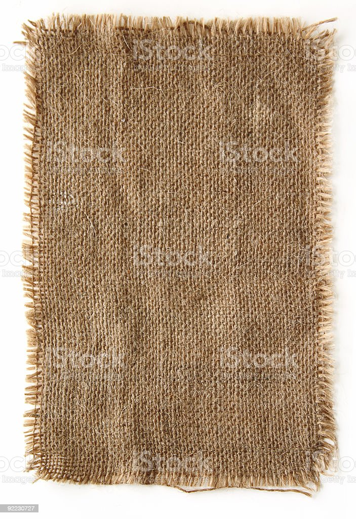Burlap canvas with lacerated edges stock photo