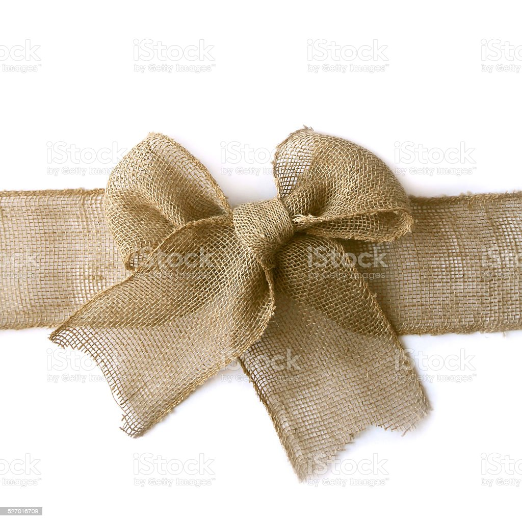 Burlap Christmas Bow Wrapped Around White Background stock photo