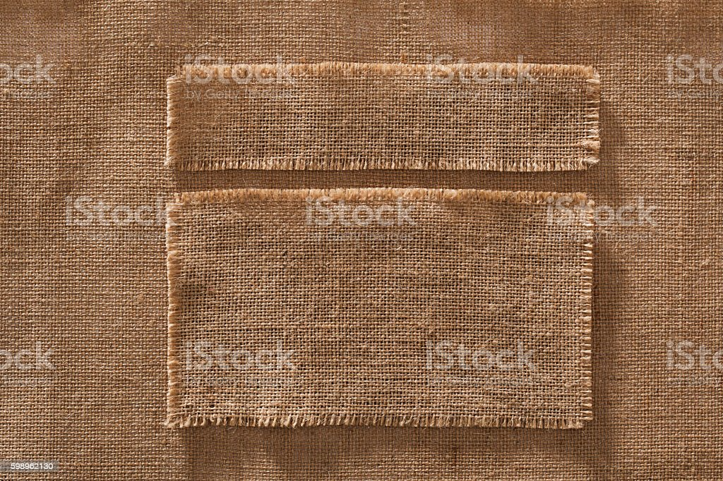 Burlap Fabric Frames Pieces Labels, Hessian Cloth Patches Texture stock photo