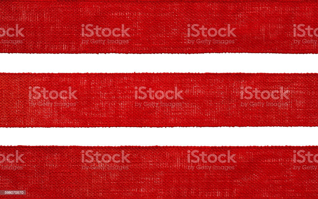 Burlap Fabric Ribbon Texture, Sack Cloth Edge, Red Hessian stock photo