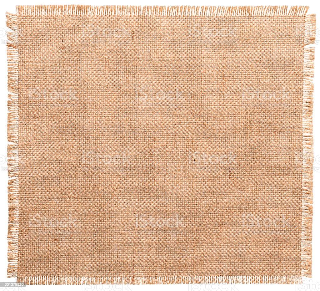 Burlap Fabric Torn Edges, Sack Cloth Pattern White Isolated stock photo