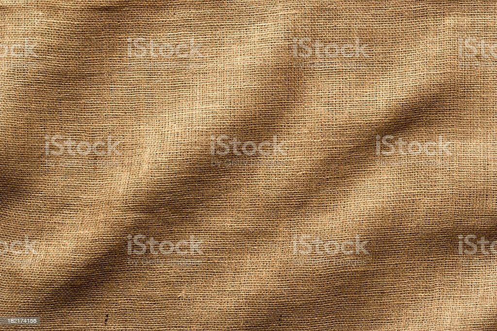 Burlap Fabric with Wrinkles, Wide Shot. Full Frame. stock photo