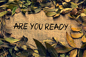 burlap frame on are you ready written. autumn leaves