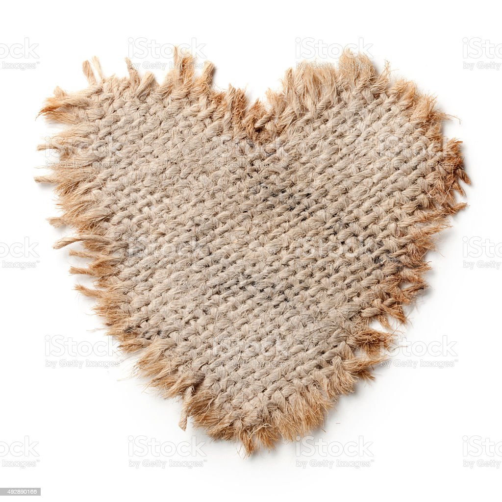 Burlap heart stock photo