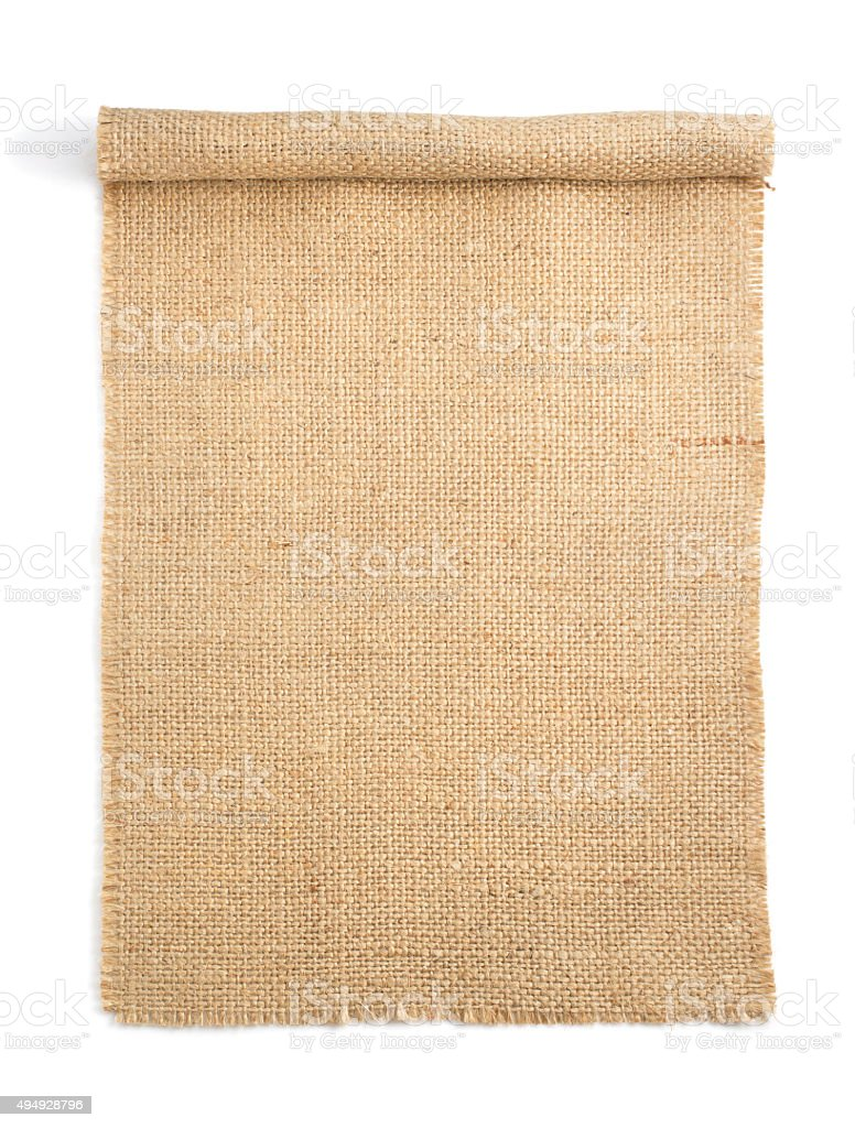 burlap hessian sacking isolated on white stock photo