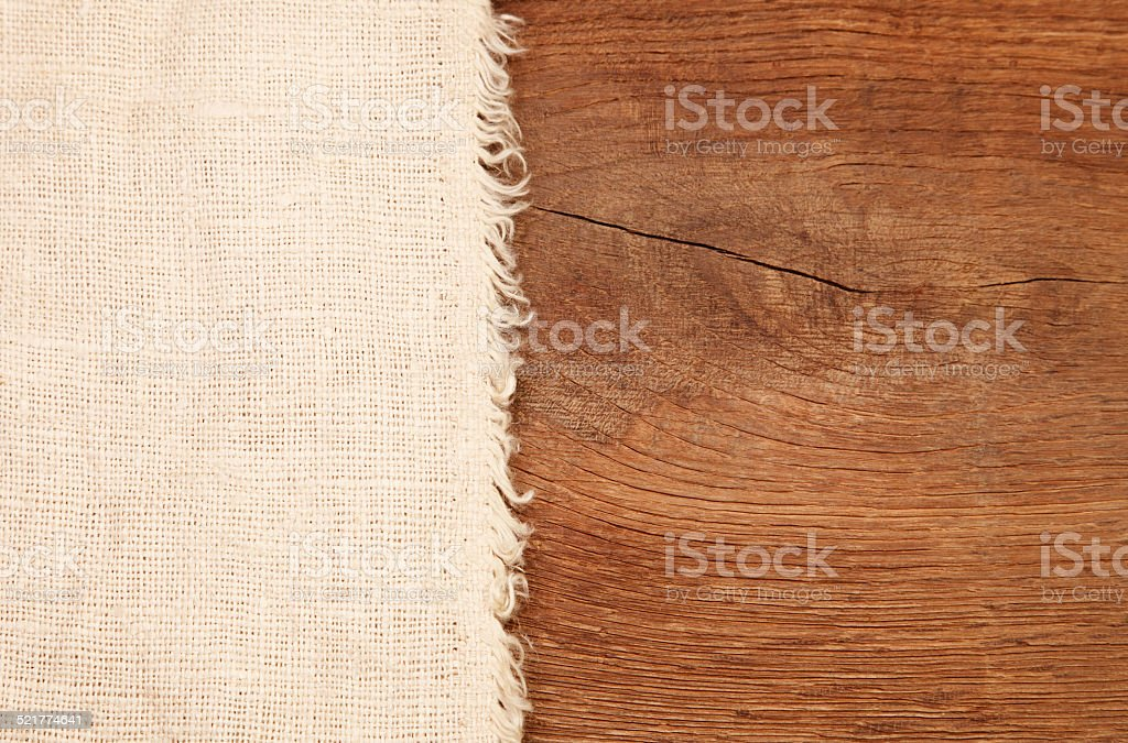 Burlap on board stock photo