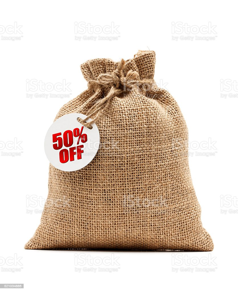 Burlap sack and 50% Discount isolated on white stock photo