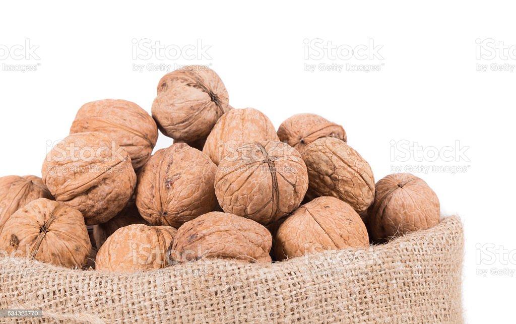 Burlap sack full of walnuts. stock photo