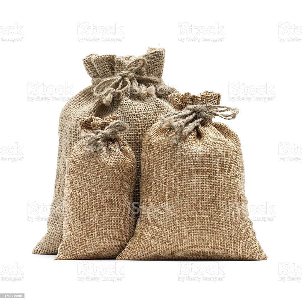 Burlap sack isolated on white background royalty-free stock photo