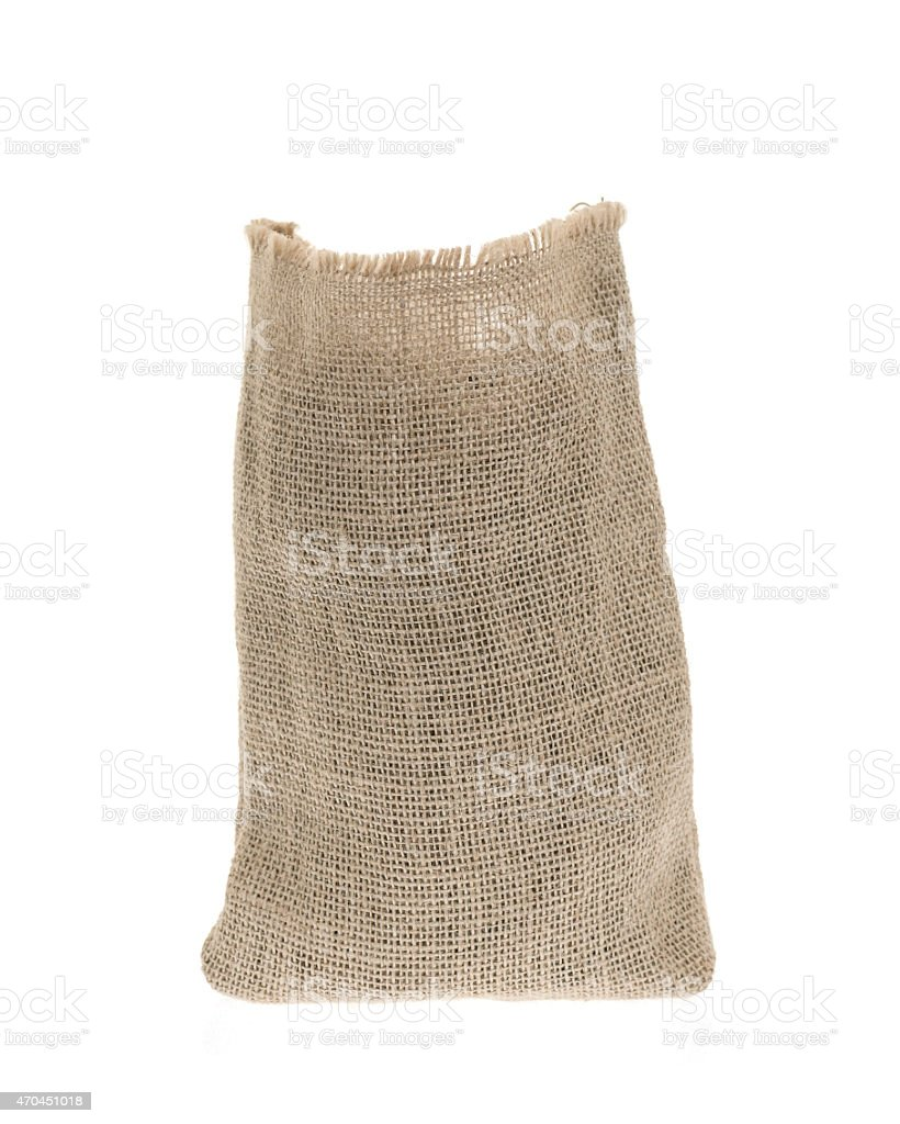 Burlap sack isolated on white background stock photo