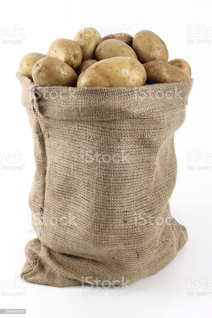 Burlap sack of yellow potatoes stock photo