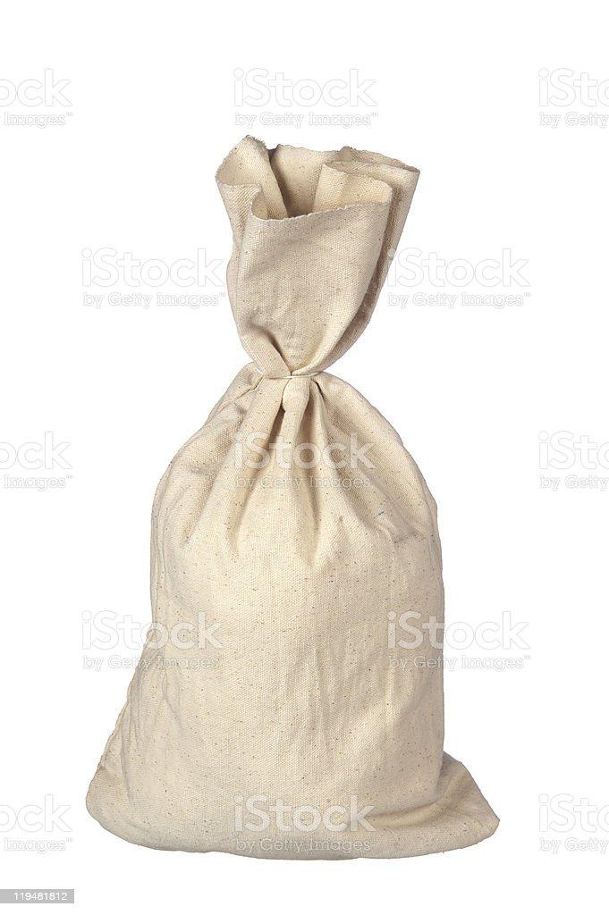 Burlap sack on white royalty-free stock photo