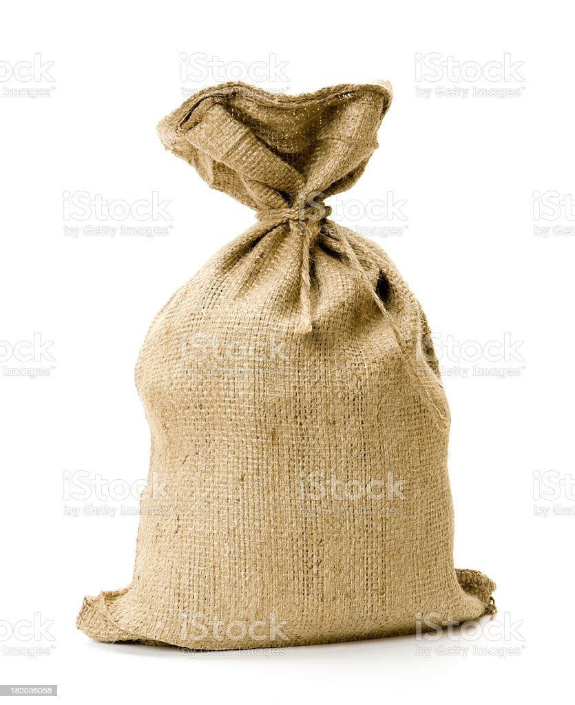 Burlap sack stock photo