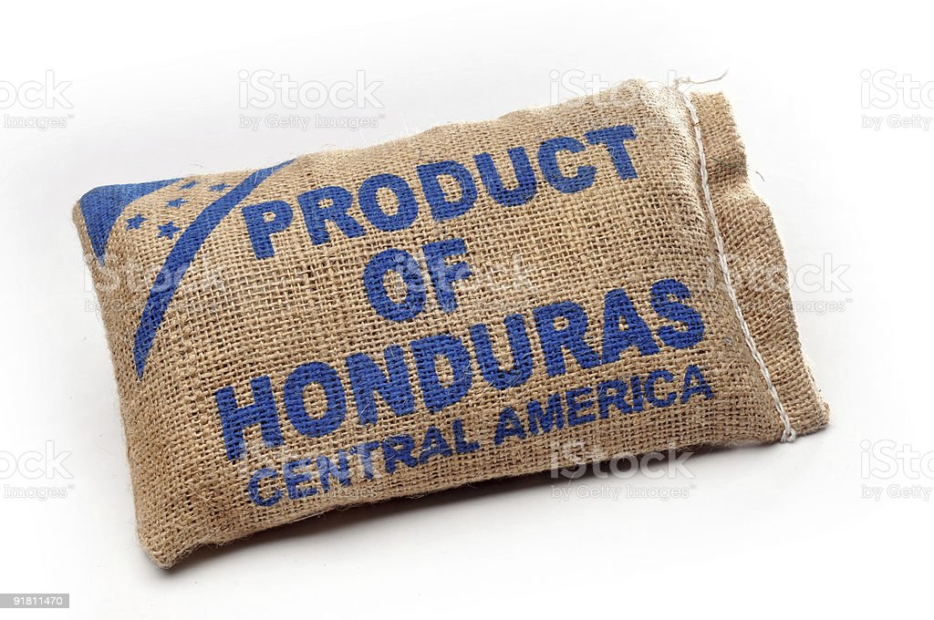 Burlap Sack with Central American Goods royalty-free stock photo