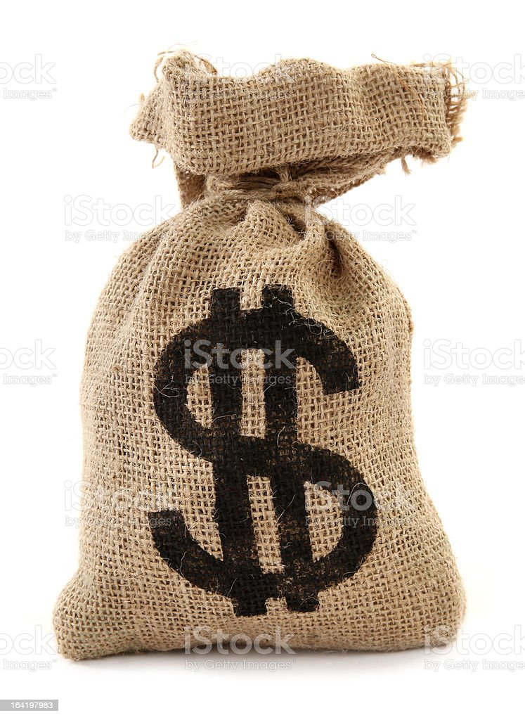 Burlap sack with dollar sign money bag royalty-free stock photo