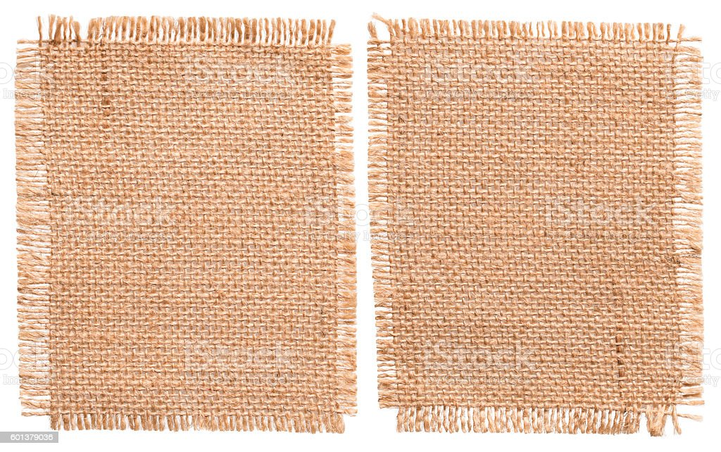 Burlap Sacking Cloth Pieces, Rustic Linen Bagging Fabric, Sack Patch stock photo