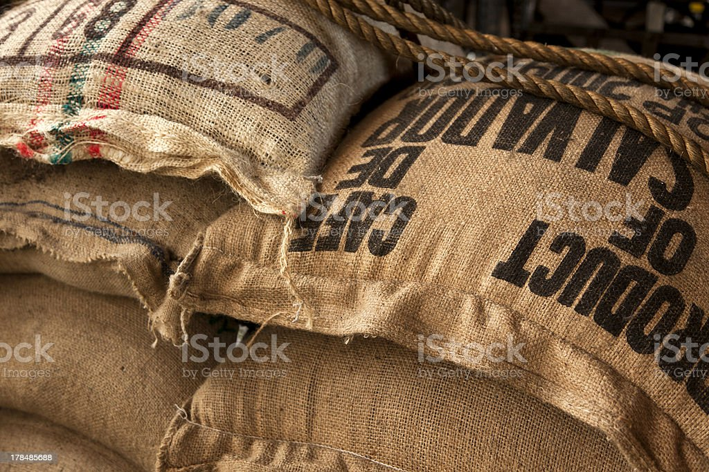Burlap sacks with coffee beans stock photo