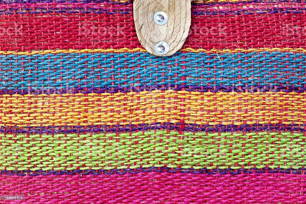 Burlap Woven Handbag, Marketplace, Background, Close-up royalty-free stock photo