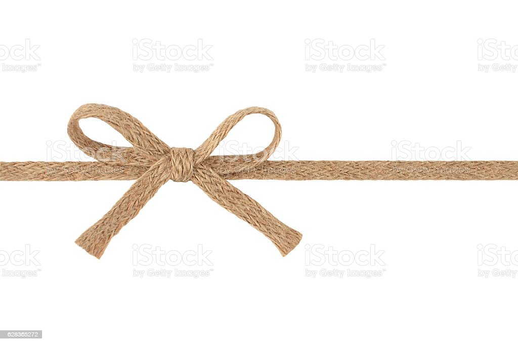 Burlap woven ribbon with bow isolated on white background stock photo