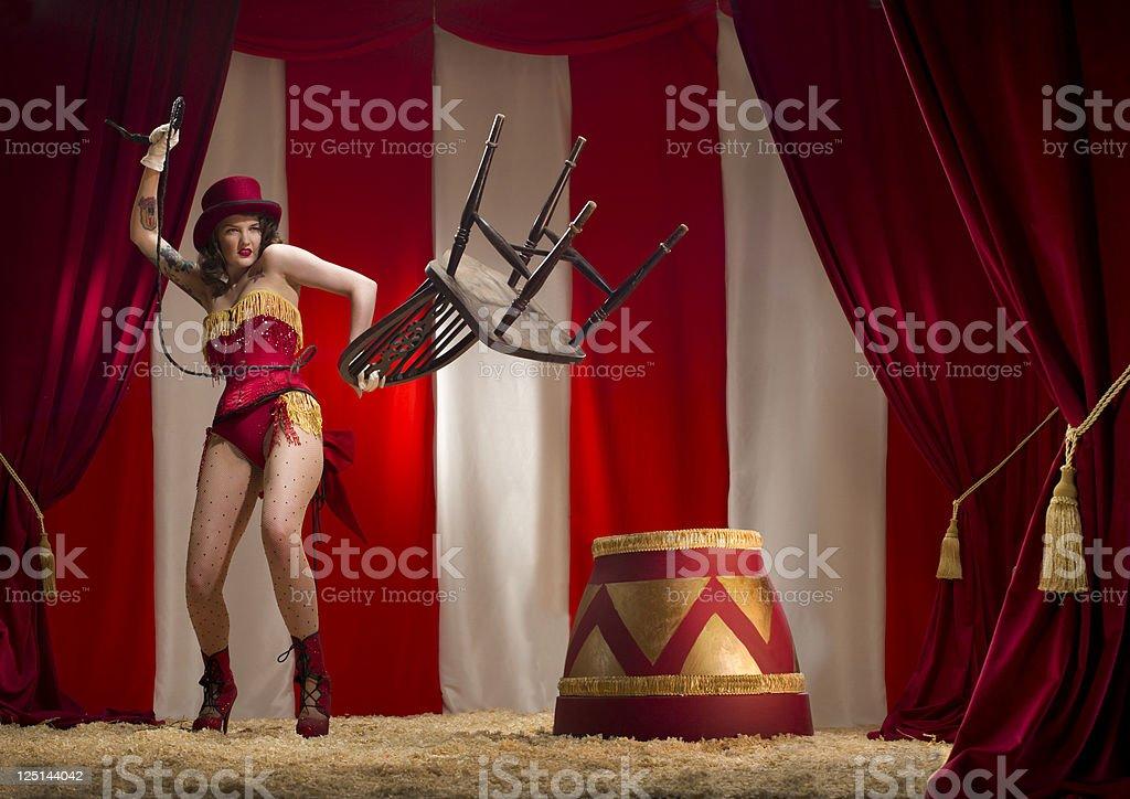 burlesque liontamer stock photo