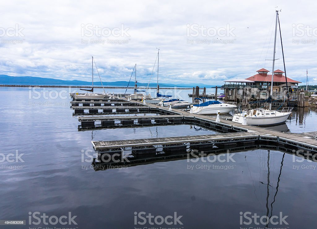 Burlington Boat House and pier stock photo