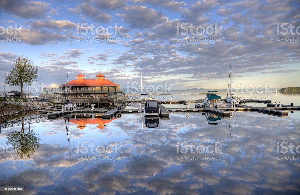 Burlington Harbor on Lake Champlain stock photo