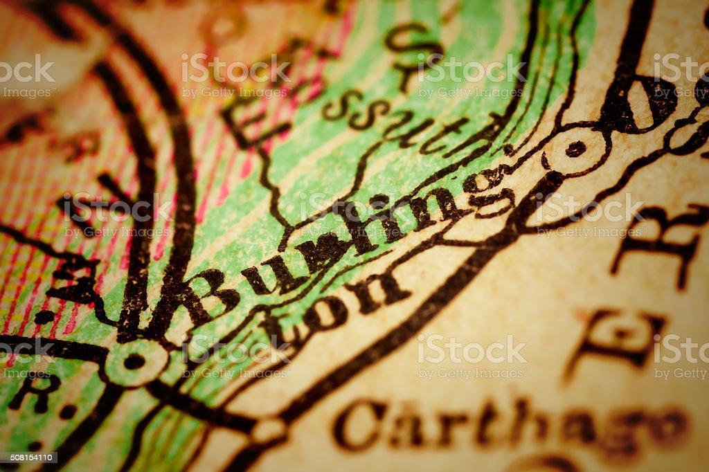 Burlington, Iowa on an Antique map stock photo