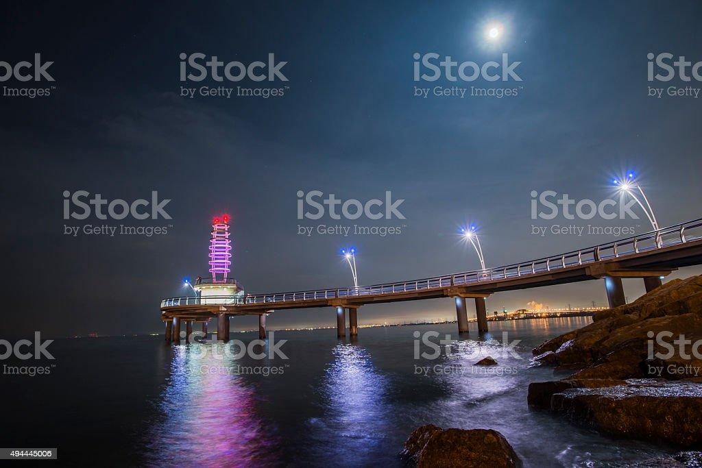Burlington pier in the earlier eve. stock photo