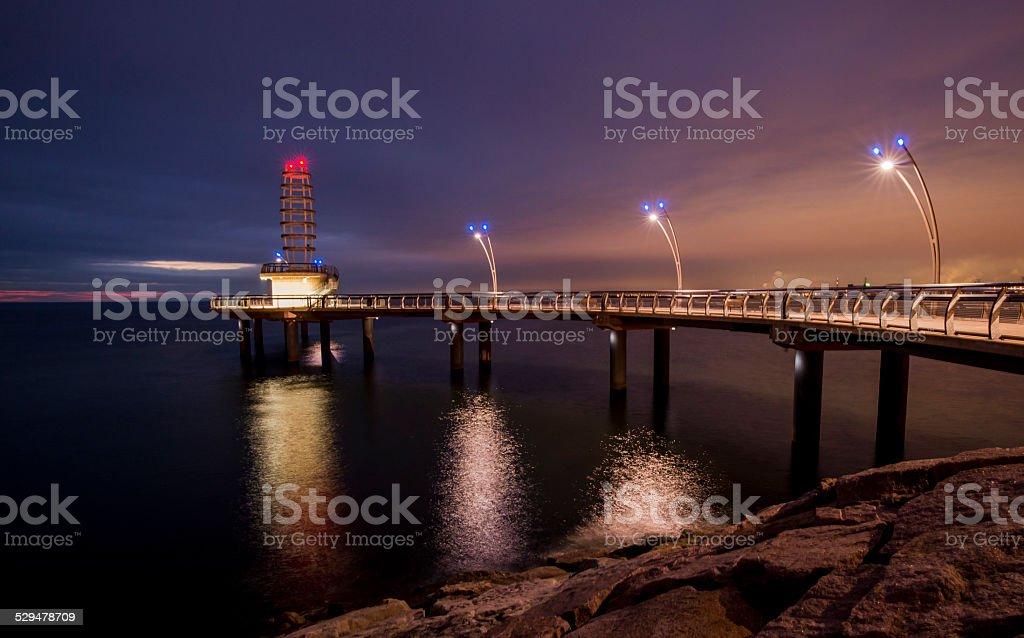 Burlington pier under a pre dawn sky. stock photo