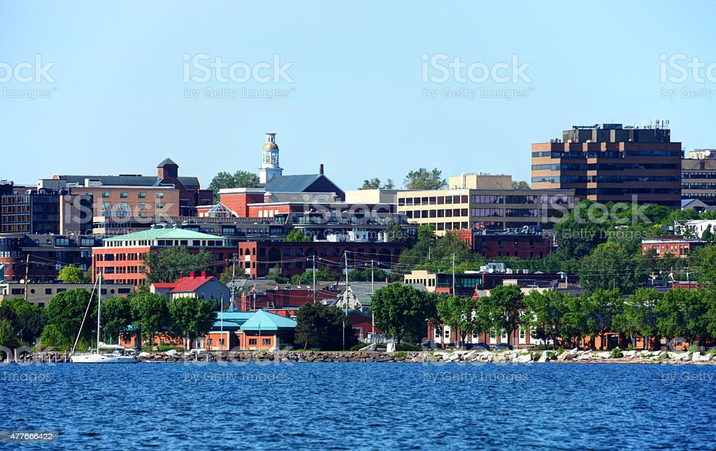 Burlington skyline on the banks of Lake Champlain stock photo