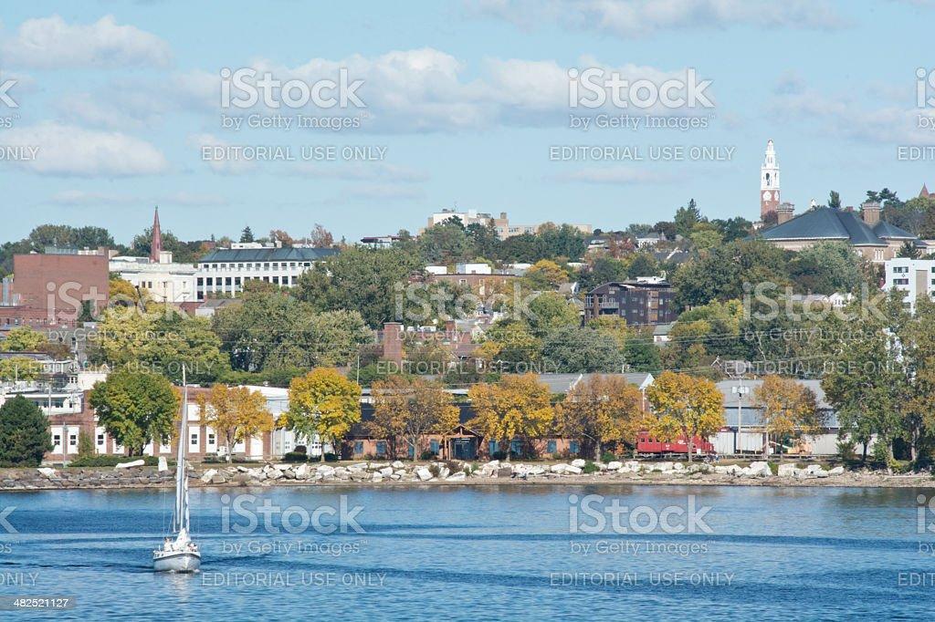 Burlington skyline with sailboat stock photo