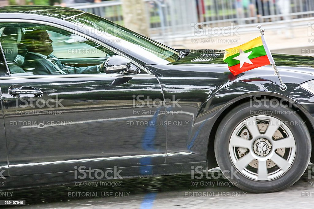 Burma Diplomatic car during Military parade stock photo
